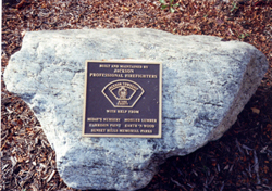 A marker in the park at the Gazebo marks its dedication.
